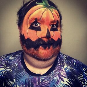 Example of Pumpkin character stage makeup