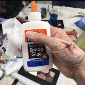 white glue is used for stage makeup techniques