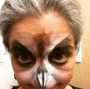 Example of Owl character stage makeup